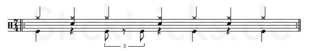 Triolischer Rock Groove als 7/4 Takt