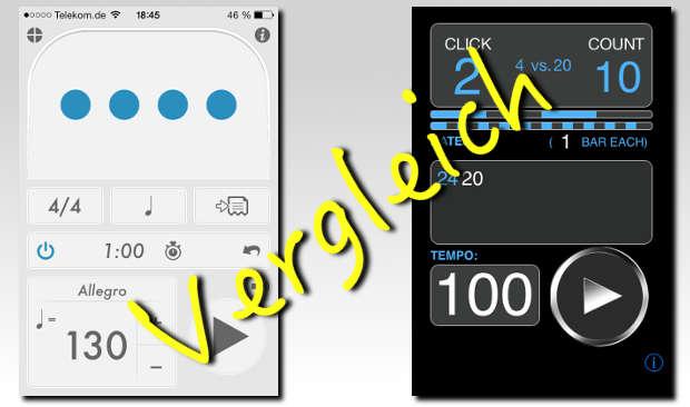 Zwei Taktgeber im Vergleich: Tempo vs. PolyNome Metronom Apps