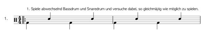 Übung 1 in den Schlagzeug Noten