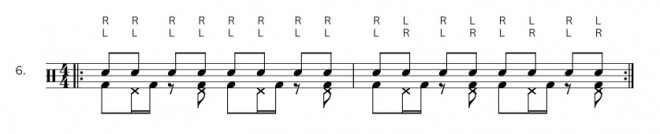 Bassdrum Hihat Ostinato - Übung 6
